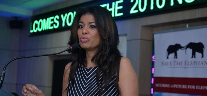 Julie Gichuru addressing the participants