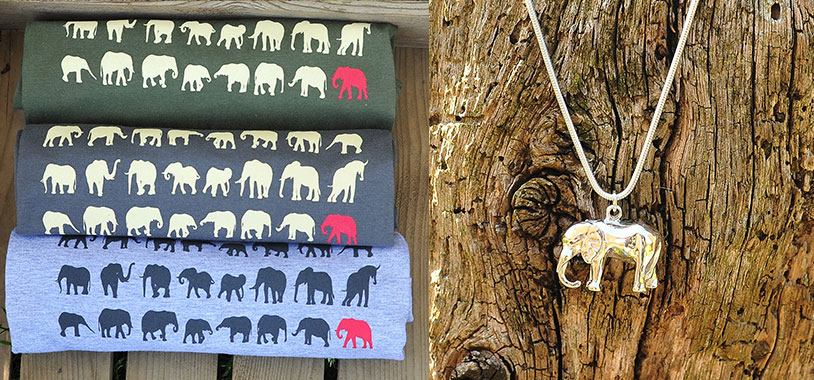 Real Africa Elephant T-shirts (R) and Necklace (L)