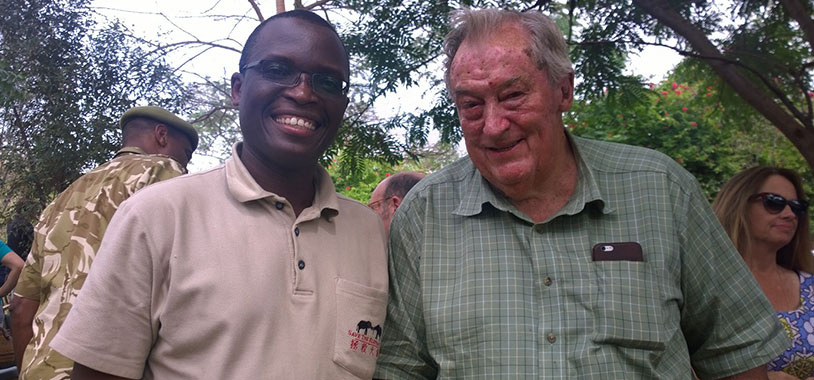 KWS' BoT Chairman Dr. Leakey with Dr. Okita, STE's Head of Monitoring